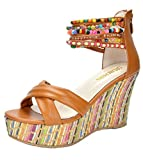 DREAM PAIRS Bling Women's Wedge Sandals Pearls Across The Top Platform High Heels Camel Size 9