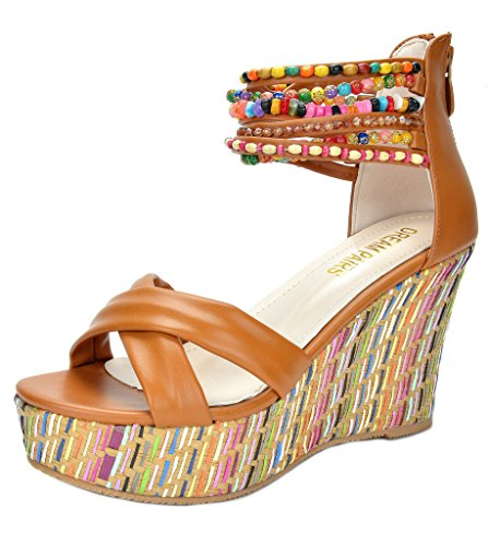 DREAM PAIRS Bling Women's Wedge Sandals Pearls Across The Top Platform High Heels Camel Size 8