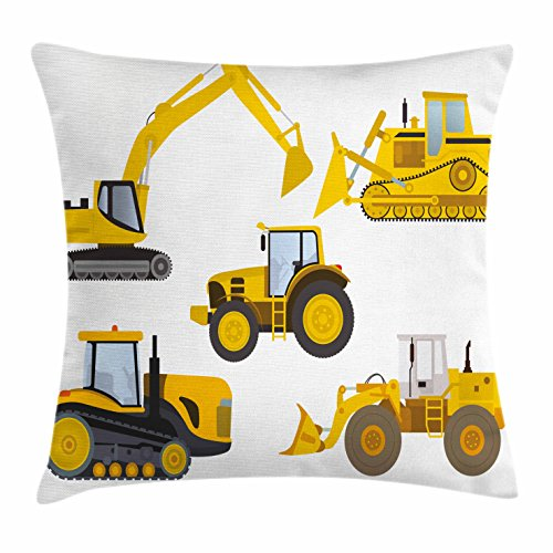 Lunarable Boy's Room Throw Pillow Cushion Cover by, Animation Inspired Heavy Machinery Drawing Construction Cartoon Bulldozer Print, Decorative Square Accent Pillow Case, 16 X 16 Inches, Yellow by Lunarable