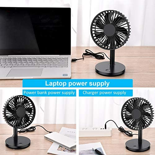 PC aceyoon USB Fan 5 inch 7 Blades Quiet Cooling Fan 5V 30 Degree Up and Down Max 3500RPM Silent Blower with 3 Speeds Adjustment Small Desk Cowl Powered by Laptop Power Bank