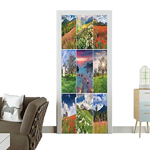 Cavaliers Framed Wall (Homesonne Door Decals Different Square Framed ening Summer Rural Nature Print Pressure resistantW30 x H80 INCH)