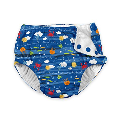 i play. Baby Boys' Snap Reusable Absorbent Swimsuit Diaper, Royal Blue Sea Friends, 24 Months