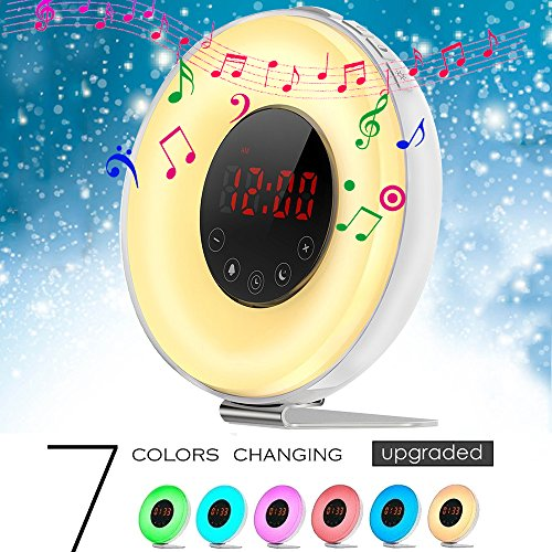 2018 Upgrated Colored Wake-up Light Alarm Clock,Weton Sunrise/Sunset Simulation Natural Sounds Alarm Clock for kids with FM Radio &Smart Snooze Function