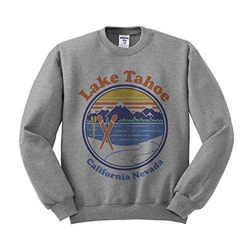(TeesAndTankYou Lake Tahoe Sweatshirt Unisex X-Large Grey)