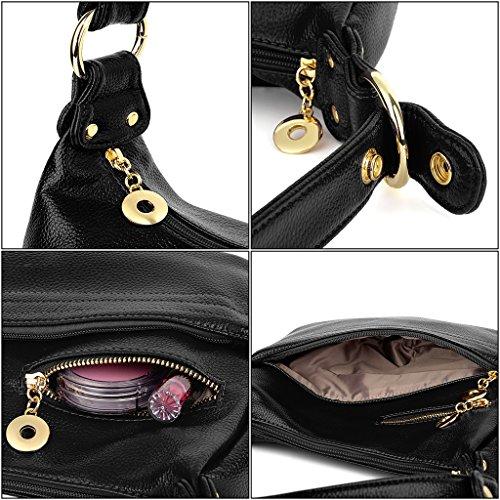 Doux UTO 1 Bandoulière Epaule et en Style Noir Durable Brun Femme Sac Bien Similicuir Porté Organisé n6TXv4x6w
