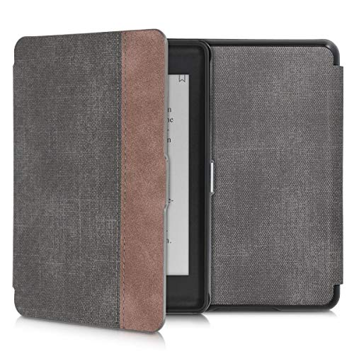 kwmobile Case for Amazon Kindle Paperwhite (10. Gen - 2018) - PU Leather and PU Suede e-Reader Cover - Black/Dark Brown