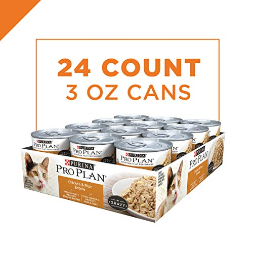 Purina Pro Plan Gravy Wet Cat Food, Chicken & Rice Entree - (24) 3 oz. Pull-Top Cans