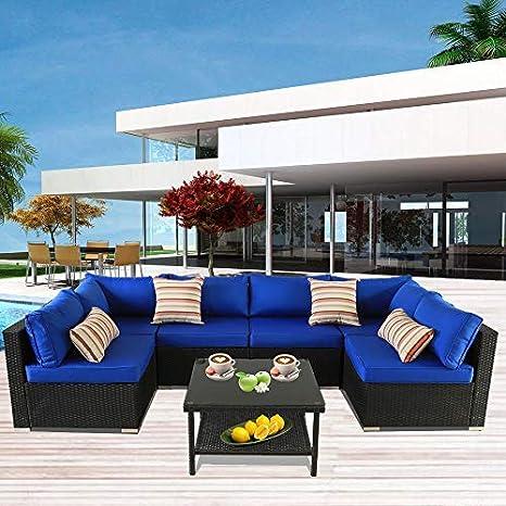 Patio Furniture Sofa Outside Couch PE Black Wicker 7pcs Garden Rattan Sofa  Rattan Sofa Set Conversation Sets Party Sofa Royal Blue Cushion