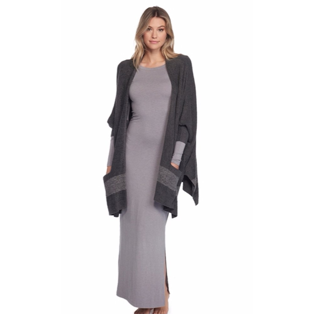 Barefoot Dreams Cozychic Lite Cliffside Wrap - Carbon/Pewter Stripe, One Size