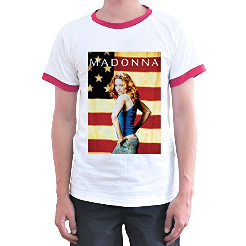 Madonna American Flag Ringer T Shirt for Men