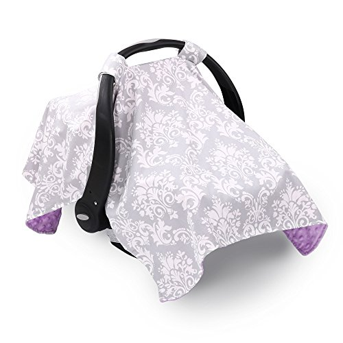 Grey Damask Infant Car Seat Canopy Cover by The Peanut Shell