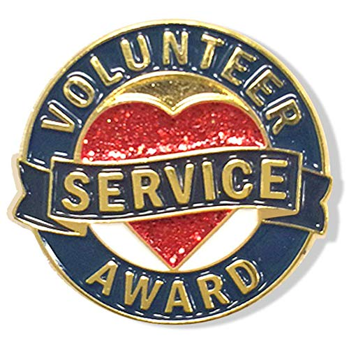 (1 Inch Diameter Die Struck Brass Plated Volunteer Service Award Heart Lapel Pin - Pack of 12)