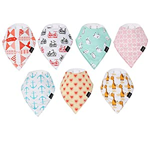 Mobapr Bandana Drool Bibs – Set Of 7 Adorable Stylish Bandana Bibs – Comfortable Soft Baby Bibs for Girls and Boys – Cute Baby Gift with Nickel Free Snaps 100% Cotton Baby Bibs Unisex