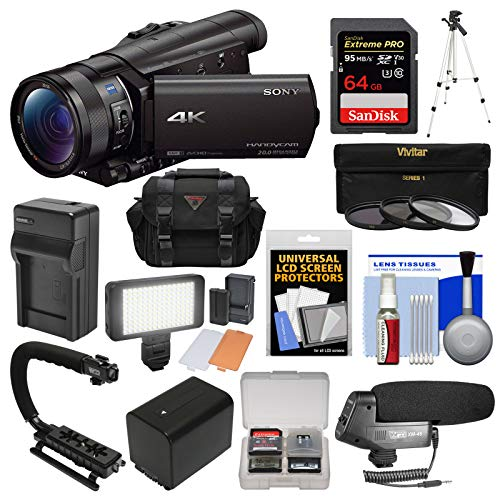 - Sony Handycam FDR-AX100 Wi-Fi 4K HD Video Camera Camcorder with 64GB Card + Case + LED Light + Battery + Tripod + Microphone + 3 Filters Kit