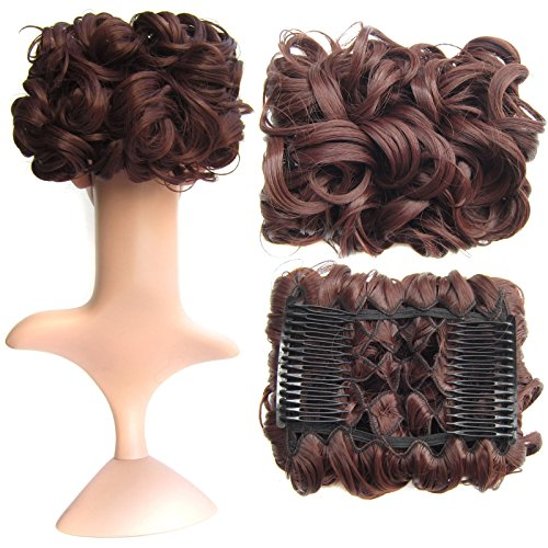 (SWACC Short Messy Curly Dish Hair Bun Extension Easy Stretch hair Combs Clip in Ponytail Extension Scrunchie Chignon Tray Ponytail Hairpieces (Dark Auburn-33#))