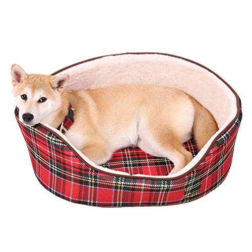 Jeansame-Store Dog Bed Super Soft Warm Plaid Pattern Non Slip Bottom Kennel Cat Nest with Removable Cushion Pet House,Pic,M
