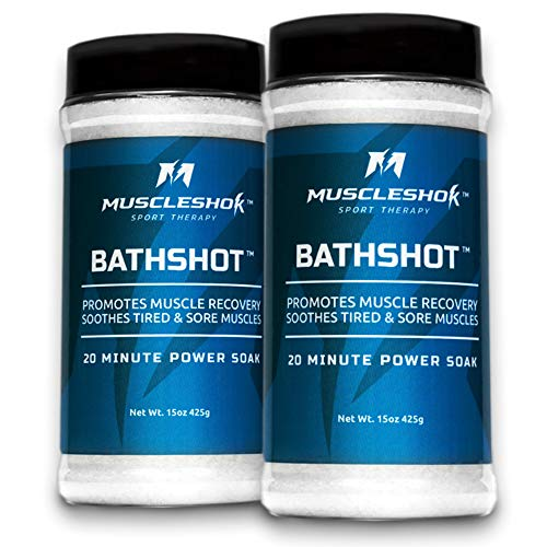 (MuscleShok BathShot - Epsom Salt, MSM Blend Bath Soak for Intense Sore Muscle Relief - 2 count (1.9 pound total))
