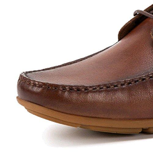Caucho Brown Zapatos Usable Talón Hombre Encaje Cabeza Calzado Cuero Antideslizante Transpirable Cuadrada De Plano De Casual qHRBxwBU