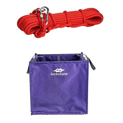 MagiDeal Nylon Throw Line Rope Deploy & Storage Cube Bag Purple + 14KN 0.4'' 32.8ft Climbing Steel Wire Rope Red by MagiDeal