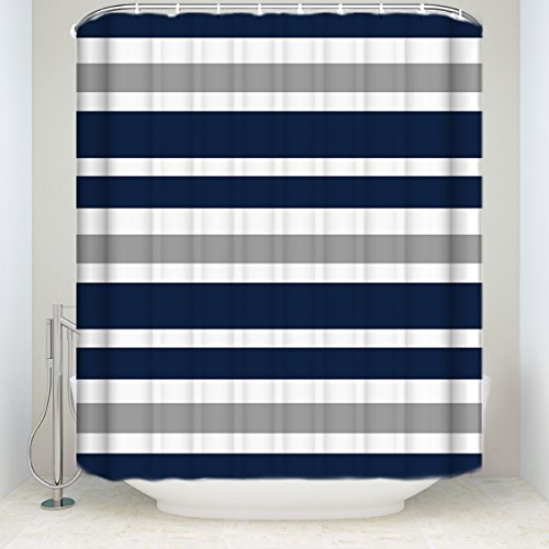 LALADecor Classic Shower Curtain Blue White Stripe Bathroom Decoration Polyester Fabric Curtains 54 X 78