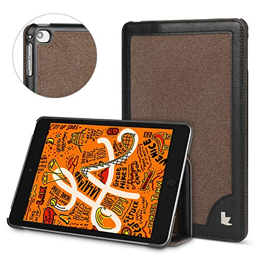 JISON21 iPad Mini 5 Case 2019 Premium Foldable Case with Strong Protection with Auto Sleep/Wake Function (Brown+Black)