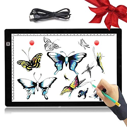 (A4 Light Box LED Copy Board Drawing Pad Tracing Table, Adjustable Brightness with USB Cable, Art Craft Drawing Tracing Tattoo Board for Artists, Drawing, Animation, Sketching, Designing, X-Ray Review)