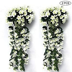 BELUPAID Artificial Violet Flowers, Hanging Ivy Plant Fake Silk Wall Wisteria Basket Orchid for Wedding Home Garden Balcony Floral Decoration (White) 93