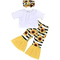 Ritatte Baby Girl Sunflower Clothing T-Shirt Short Sleeve Top Floral Striped Pants Flared Trousers Bow Headband 3PCS Set