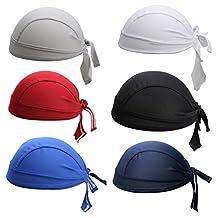 6Pcs/Set Men's Sports Headband Adjustable Motorcycling Biking Dew Rag Skull Caps Head Wrap Chemo Hats Bandanas