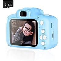 REDGO Mini Cámara de Fotos Digitales para Niños, 1080P HD Video Cámara Selfie 12MP Juguete Educativo USB Recargable 2 Pulgadas IPS Pantalla con Zoom 4X+8GB Tarjeta de Memoria