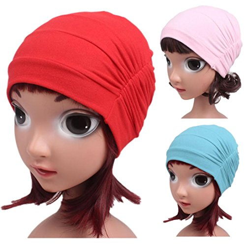 FEITONG Children Baby Girls Cotton Hat Beanie Scarf Turban Head Wrap Cap 3-8 years (Red) by FEITONG (Image #6)