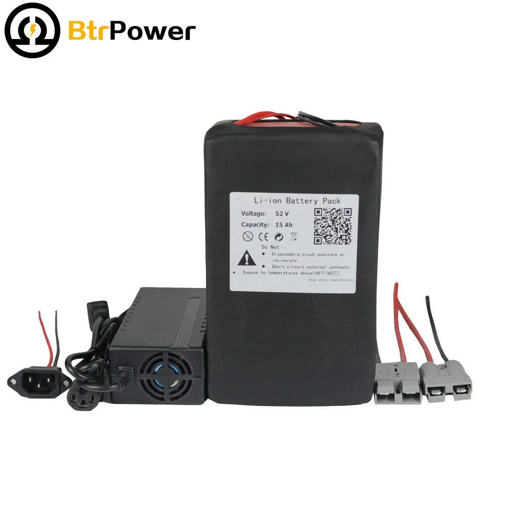 52V 15AH Ebike Lithium ion Battery Pack for 500W 750W Electric Bike Scooter 58.8V 3A Charger + 50A BMS by BtrPower (Image #2)