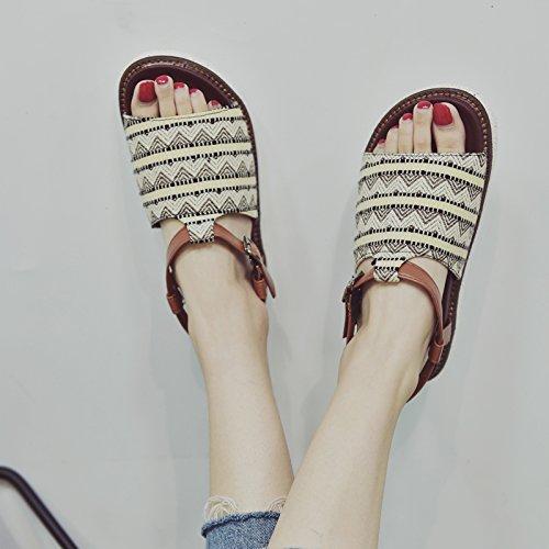 YMFIE Simple Moda Retro Damas de Verano' Toe Toe Sandalias Bohemian cómodas Zapatillas de Playa Antideslizante b