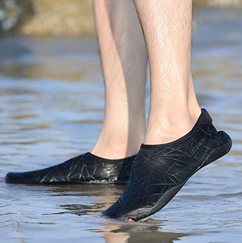 Ahatech Strandschuhe Damen Herren trockenen Schnell Wasserschuhe Aquaschuhe Barfuß Schuhe Schwimmschuhe mit Rutschfeste Sohlen Surfschuhe Gehen,Yoga,Schnorcheln,Treiben,Strand,Fahren Schwarz-A