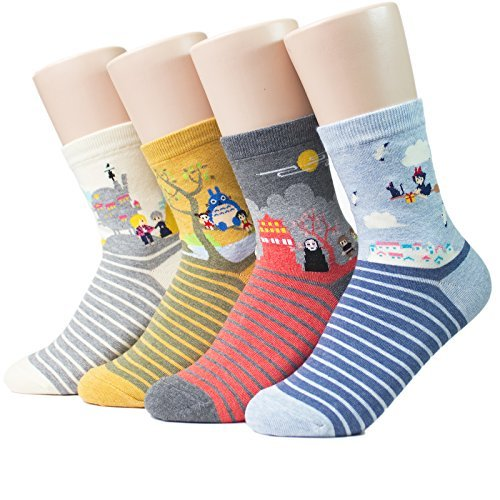 Socksense Japan Animation Series Women's Socks Made in Korea 4 Pairs Free Size