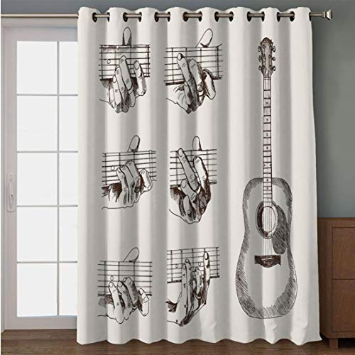 Joy2016 Blackout Curtains for Patio Sliding Door, Extra Wide Draperies for Double Window, Thermal Insulated Energy Efficiency Blackout Curtains for Bedroom Decor, 108 Inch Wide x 96 Inch Length]()