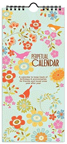 Birds & Flowers Birthday & Anniversary Perpetual Calendar, Annual Reminder Calendar