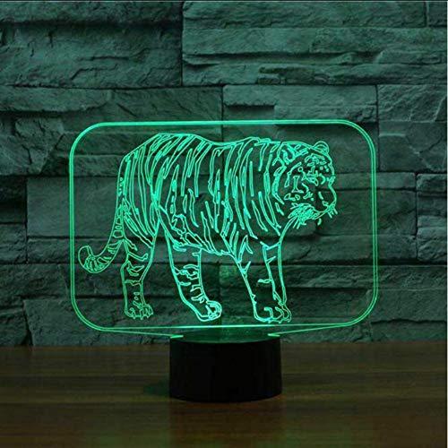 (Zonxn Creative Bedroom Nightlight Atmosphere Tiger Modelling Led 3D Lamps Animal Table Lamp Sleep Lighting Kids Holiday Decor Gift)