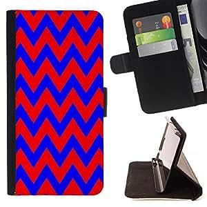 King Case - FOR HTC DESIRE 816 - Blue and red big waves - Prima caja de la PU billetera de cuero con ranuras para tarjetas, efectivo Compartimiento desmontable y correa para la mu?eca