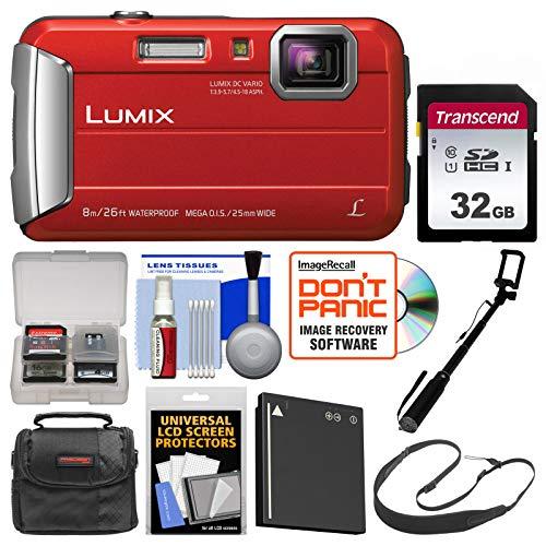 Panasonic Lumix DMC-TS30 Tough Shock & Waterproof Digital Camera (Red) with 32GB Card + Case + Battery + Selfie Stick Monopod + Sling Strap Kit