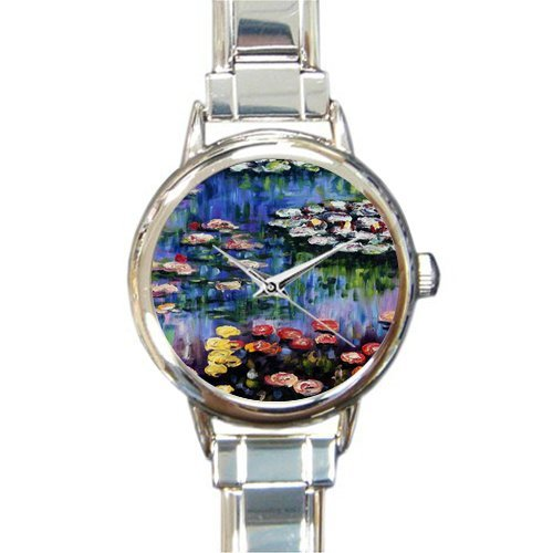 Personalized Watch Water Lilies by Claude Monet Round Italian Charm stainless steel Watch - Christmas Guft