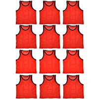BlueDot Trading Youth Sports Pinnie Scrimmage Training Vest, Orange, 12 Pack