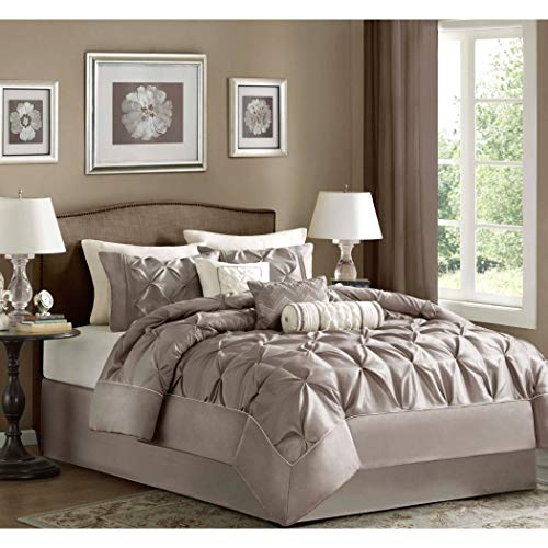 Madison Park Queen Size Comforter Set in Luxury Bedding Collection - 7 Piece, Taupe, Pinch Pleat Pattern, Plush Soft Heavenly Comfort, Light Cream Beige Comforter for Master Bedroom