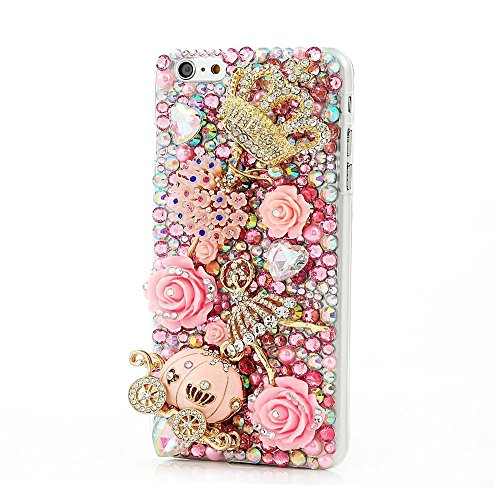 Rubber Case Crystal Generation (STENES iPod Touch (6th Generation) Case - Luxurious Crystal 3D Handmade Sparkle Diamond Rhinestone Clear Cover with Retro Bowknot Anti Dust Plug - Crown Pumpkin Car Ballet Girl Rose Flowers/Pink)