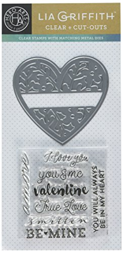 Hero Arts DC176 Floral Heart Stamp and Cut by Lia Craft (Heart Hero Arts)