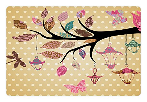 Ambesonne Dragonfly Pet Mat for Food and Water, Tree Branch with Original Lantern and Ethnic Leaves on Polka Dots Backdrop Ethnic, Rectangle Non-Slip Rubber Mat for Dogs and Cats, Multi ()