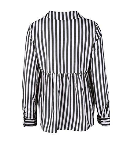 Longues Automne Casual Printemps Fashion Blouse Chemisiers Haut Legendaryman Shirts Revers Manches Tee T et Noir Raye Tops Femme Shirt qwaEEH1Xx