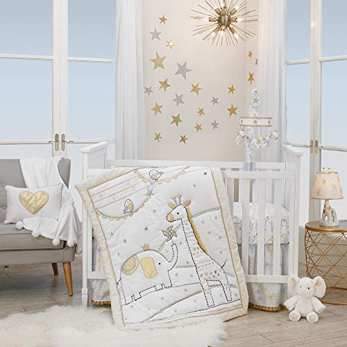 Lambs & Ivy Signature Jamboree 3-Piece Crib Bedding Set – Gray, Gold, White