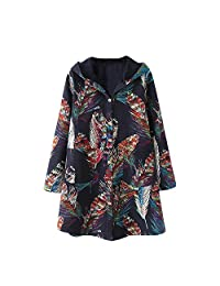 Pervobs Womens Autumn Winter Coats Long Sleeve Floral Button Down Hooded Coat Jacket