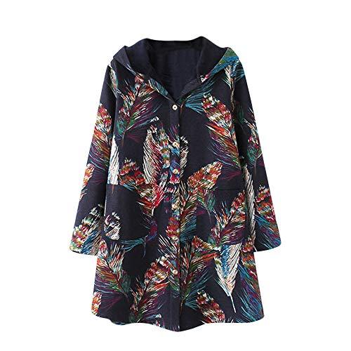 Womens Oversize Coats Duseedik Winter Warm Outwear Floral Print Down Jackets Hooded Pockets Vintage Pullover Cardigan - Jlo Womens Metal